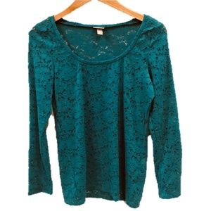 Vanity Essentials, teal green, long sleeve top